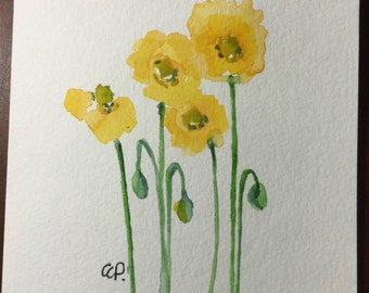Yellow Poppies Watercolor Card / Hand Painted Watercolor Card
