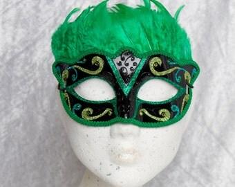 Victorian Feather Mask 'Love Bird' Green & Black, Masquerade, Venetian, Carnival, Mardi Gras, Steampunk, Fetish, Wedding, Bridal, Crystal