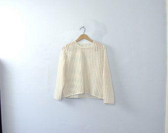 Vintage 50's white striped sheer top, sheer blouse, size small / medium