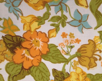 "Vintage Fabric Lemeau 46""L x 24""W Orange Floral Scrap Scotchgard 1970s"