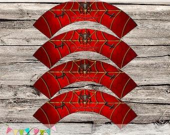 Spider Dude Cupcake Wrappers - Printable - DIY - Digital File - CUSTOMISED