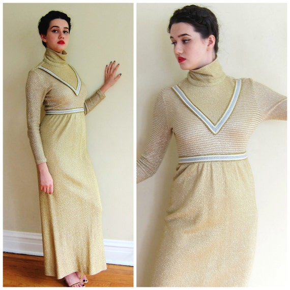 Vintage 1970s Gold Lurex Dress/ Metallic Maxi Knit Gold Silver Ivory w/Art Deco Style by Young Dimensions
