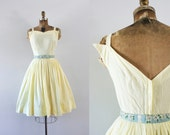 1960s Sunny Days cotton sweetheart dress / 60s simplistic beauty