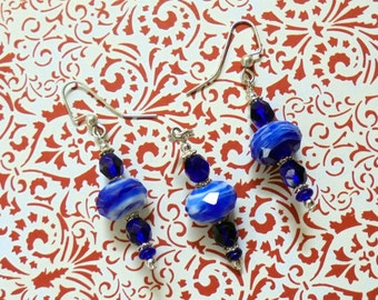 Cobalt Blue and White Pendant and Earrings (0583)