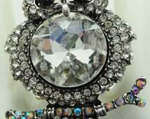 Sparkly Owl Ring/Aurora Borealis/Rhinestone/Autumn/Fall Jewelry/Bird JewelryAdjustable/Under 15 USD