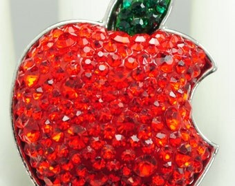Shiny Red Apple Ring/Green/Rhinestone/Fall Jewelry/Gift/Teacher/Fruit/Food Jewelry/Under 15 USD