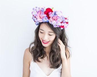 red pink purple blue statement flower crown // Eriadne / oversized large big floral headpiece fascinator, romantic, lana del rey, races