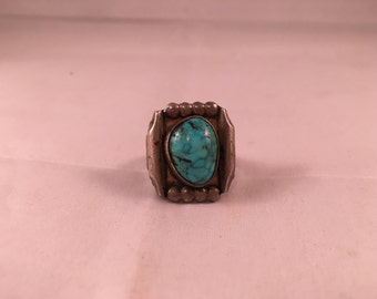 Vintage Turquoise & Silver Square Ring - Size 9