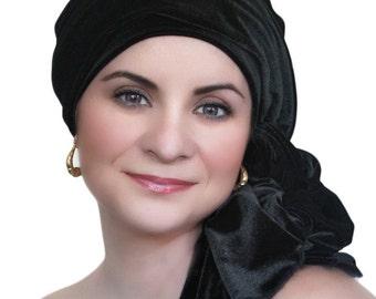 Black Velvet Turban, Head Wrap, Chemo Hat, Alopecia Scarf, Hat & Scarf Set 505-05