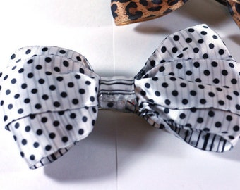 Black and White Handmade girls hair bow stripes and dots