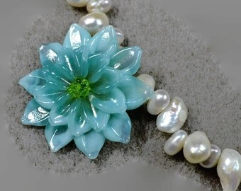 Freshwater Pearls with Blue Lampwork Flower Necklace