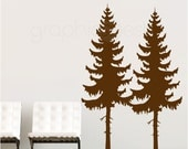 Wall decals TWO PINE TREES Large vinyl art interior decor - Modern design by GraphicsMesh