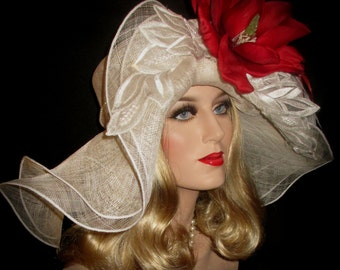 SOUTHERN COMFORT Kentucky Derby Hat, Red Magnolia Derby Hat, Off White Extra Wide Brim Hat, Ivory Sinamay, Lace & Pearls Hat, Tea Party Hat
