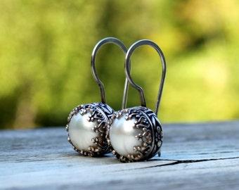 Pearl Drop Earrings - Sterling Silver & Pearl Crown Earrings - Pearl Hanging Earrings - Floral Pearl Earrings - Wedding Pearls