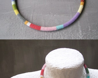 Multicolored Crochet Tube Necklet 17 in Choker Magnetic Closure, 25 colors rope necklace