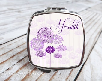 Personalized Bridesmaid Compact Mirror - Queen Anne's Lace Purple