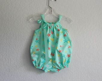 New! Baby Girls Aqua Bubble Romper - Infant Sunsuit with Colorful Starfish - Baby Girls Layette - Size Newborn, 3m, 6m, 9m, 12m or 18m