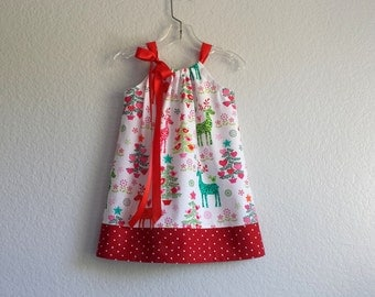 New! Reindeer Christmas Dress - Charming Reindeer in Pink and Green on White - Reindeer & Dots - Size 12m, 18m, 2T, 3T, 4T, 5, 6, 8 or 10