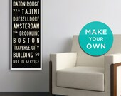 CUSTOM Subway Sign Art, Custom Wall Art, Personalized Subway Art, Bus Scroll, Industrial Decor, Word Art, Personalized Canvas Print. 12 x 36