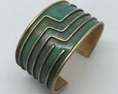 Brass Verdigris Circuit Board Cuff