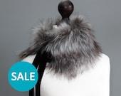 SALE Faux fur collar in grey. Fur neck warmer. Womens fur collar. Fur scarf. Christmas gift