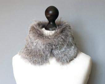 Grey faux fur collar. Winter neck warmer. Fur scarf. Buy faux fur collar