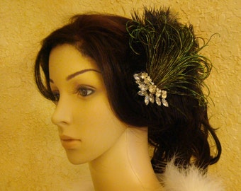 1920's black feather fascinator with crystals rhinestone hair clip / feather hair clip vintage inspired flapper headpiece