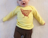Chicken Long Sleeve Baby's Yellow Cotton Tshirt - made in America