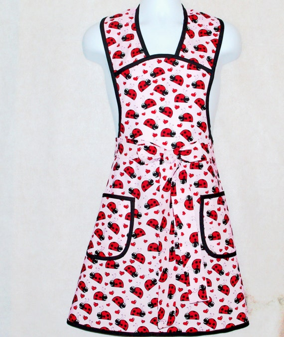 Apron Ladybug, Vintage Retro Style Ladies  Hostess, Personalized Embroidered With Name,No Shipping Charge,  Ready to Ship TODAY AGFT 044
