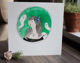 ghost cats and woman with bird painting
