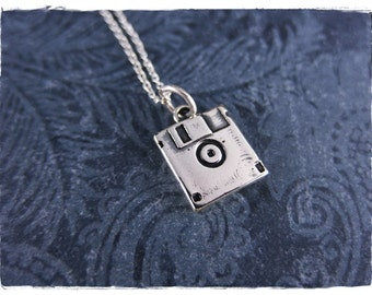 Silver Floppy Disk Necklace - Sterling Silver Floppy Disk Charm on a Delicate Sterling Silver Cable Chain or Charm Only