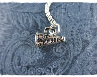 Silver Cheer Megaphone Necklace - Sterling Silver Megaphone Charm on a Delicate Sterling Silver Cable Chain or Charm Only