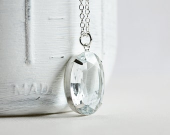 Clear Glass Pendant - Large Rhinestone Necklace on Silver Plated Chain, Oval Pendant, Clear Necklace, Retro Style Jewelry, Simple Jewelry