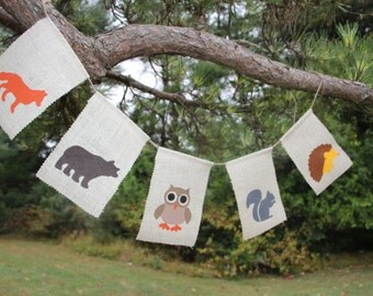 Woodland Animal Banner, Nursery banner, classroom decor, fox, bear, squirrel, hedgehog, owl, woodland - Made to Order