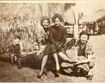 Girlfriends SITTING On ALLIGATOR As Little BOY Looks On Photo Postcard Circa 1930s