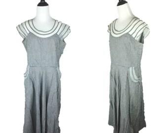 50s Dress / 1950s Black Gingham Dress / Vintage Checkered Dress / 50s Mesh Dress / 1950s Day Dress / Mesh Neckline Dress / Checked Dress XL