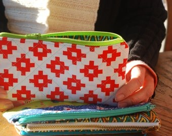 Quilted Zipper Pouch in Geometric Red & White