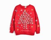 Vintage Tacky Christmas Sweater / Red Santa Sweater / Holiday Sweatshirt / Rudolph Sweater - women's medium