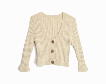 Vintage 90s Cropped Cardigan Sweater in Almond / Button-Front Cardigan / 90s Neutrals - women's small