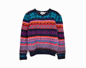 february sweater sale!! Vintage 80s Striped Snowflake Sweater / Tacky Sweater