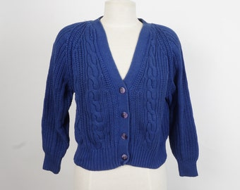 royal blue cropped cotton cardigan Nordstrom 80s vintage button up cable knit sweater small petite