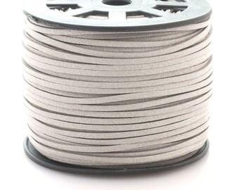 Faux suede cord 3mm wide - beige silver - 3 meters