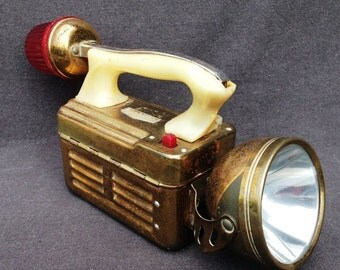 Stunning old golden retro Clipper flashlight. Collectible gift for guys. Fabulous piece to display for collectors.