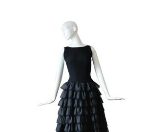 1950s Dress • 50s Cocktail Dress • Black • XS S Small