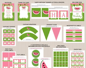 Watermelon Birthday Party Decorations | Watermelon Party Printables | Watermelon Birthday Party Package | Watermelon Invitation