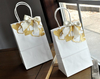 Gift Bags for Bridesmaids.  Handcrafted in 2-5 Business Days.  Small White Paper Bags with Handles.  Party Favor Bags.