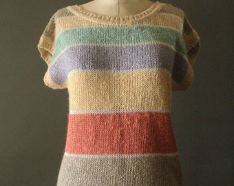 Vintage 80's Pastel Stripes Knit Short Sleeve Sweater by Counterparts, size S