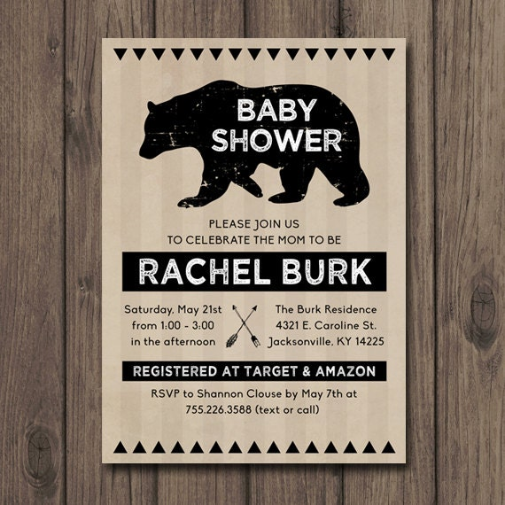 baby shower invitation rustic tribal baby shower arrow