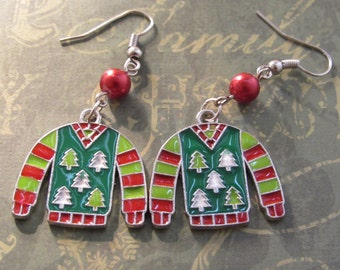 Ugly Sweater Green and White Christmas Tree Earrings