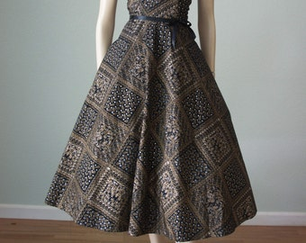1950s New without Tags Taffeta Halter Party Dress // Novelty Print Metallic on Black // Full Skirt - Small Medium